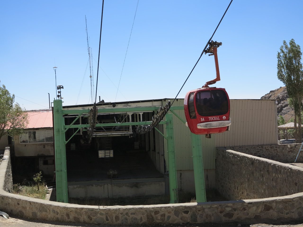 Cable car emerging from a station