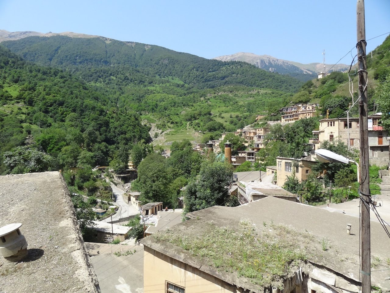 View over Masuleh, mosque nestled in the middle