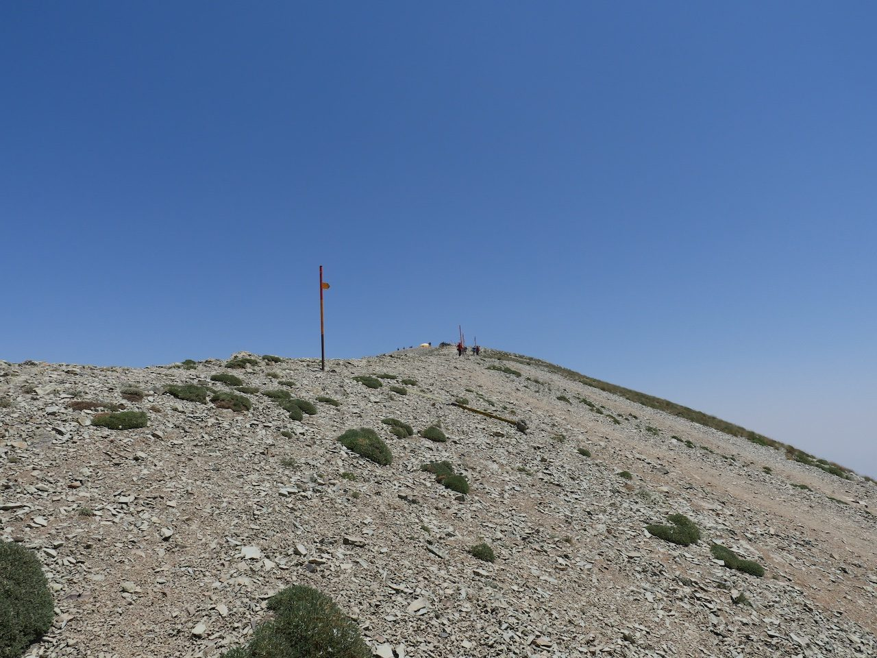 View towards the summit showing the patches of shrubbery